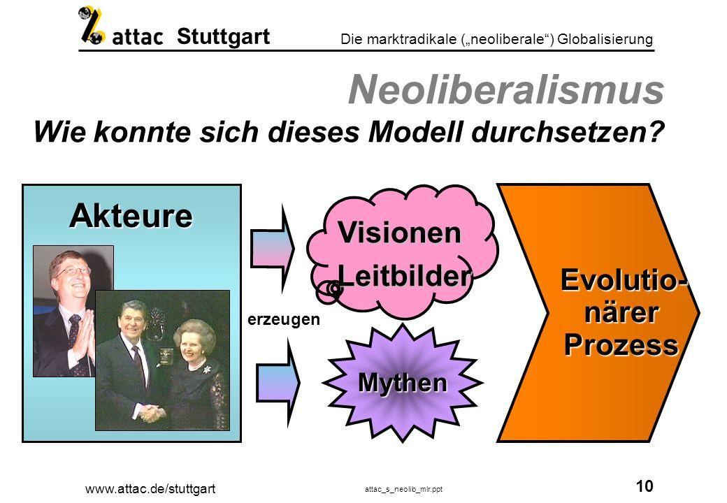 www.attac.de/stuttgart attac_s_neolib_mlr.ppt 11 Die marktradikale (neoliberale) Globalisierung Stuttgart Dogma Neoliberalismus Dogma Neoliberalismus Alles dem Markt überlassen.
