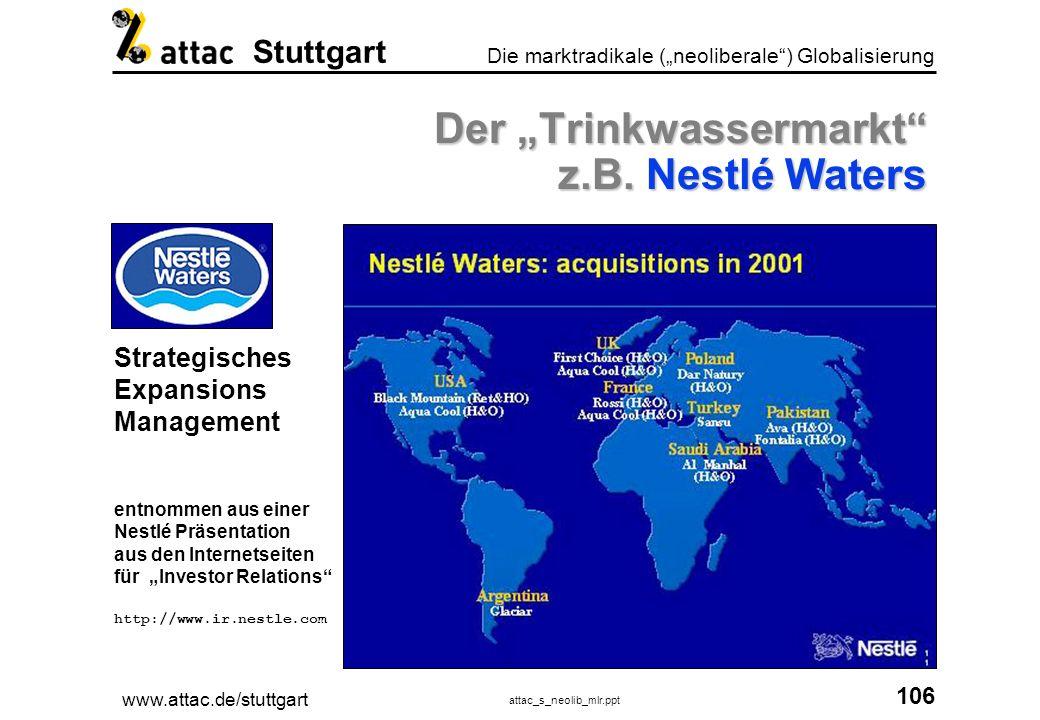 www.attac.de/stuttgart attac_s_neolib_mlr.ppt 107 Die marktradikale (neoliberale) Globalisierung Stuttgart Privatisierung aller Lebensbereiche.