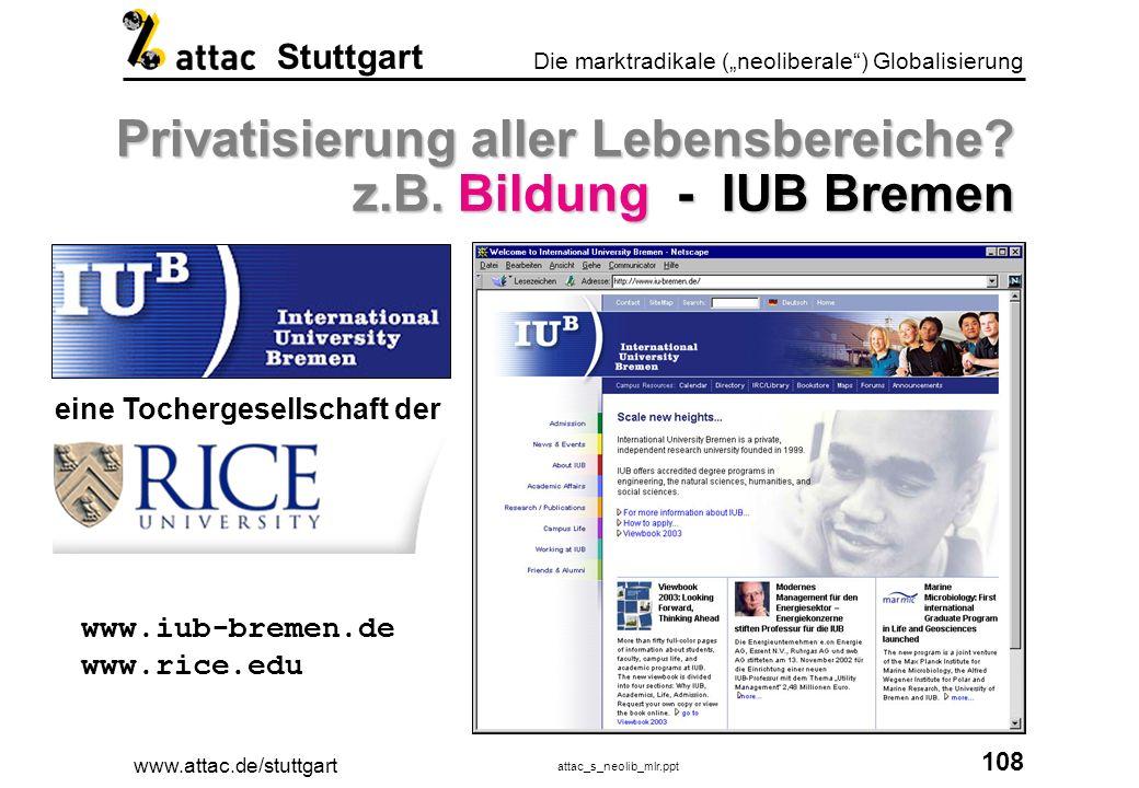 www.attac.de/stuttgart attac_s_neolib_mlr.ppt 109 Die marktradikale (neoliberale) Globalisierung Stuttgart Öffentliche Bereiche privatisieren.