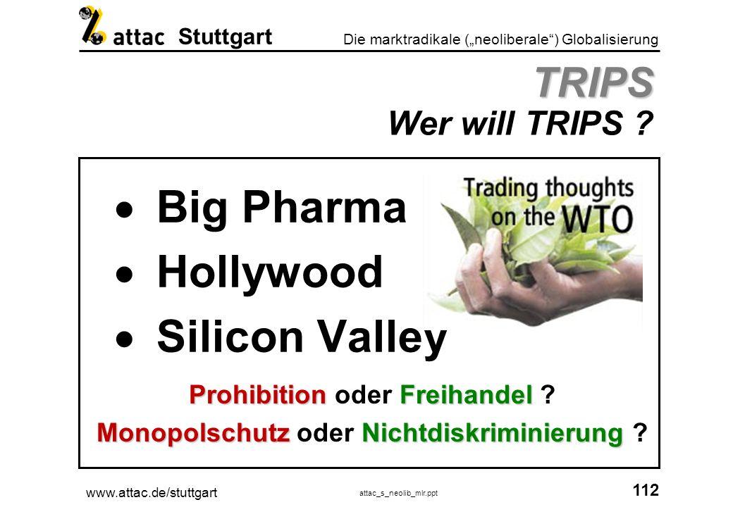 www.attac.de/stuttgart attac_s_neolib_mlr.ppt 113 Die marktradikale (neoliberale) Globalisierung Stuttgart TRIPS Warum TRIPS .