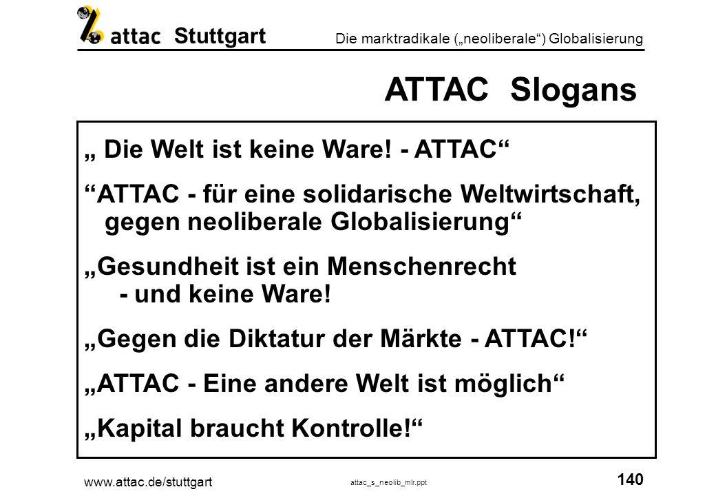 www.attac.de/stuttgart attac_s_neolib_mlr.ppt 140 Die marktradikale (neoliberale) Globalisierung Stuttgart ATTAC Slogans Die Welt ist keine Ware! - AT