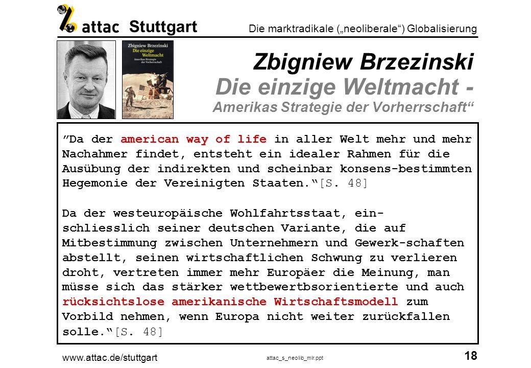 www.attac.de/stuttgart attac_s_neolib_mlr.ppt 19 Die marktradikale (neoliberale) Globalisierung Stuttgart Der amerikanische Traum Jeder kann ein Bill Gates werden!?