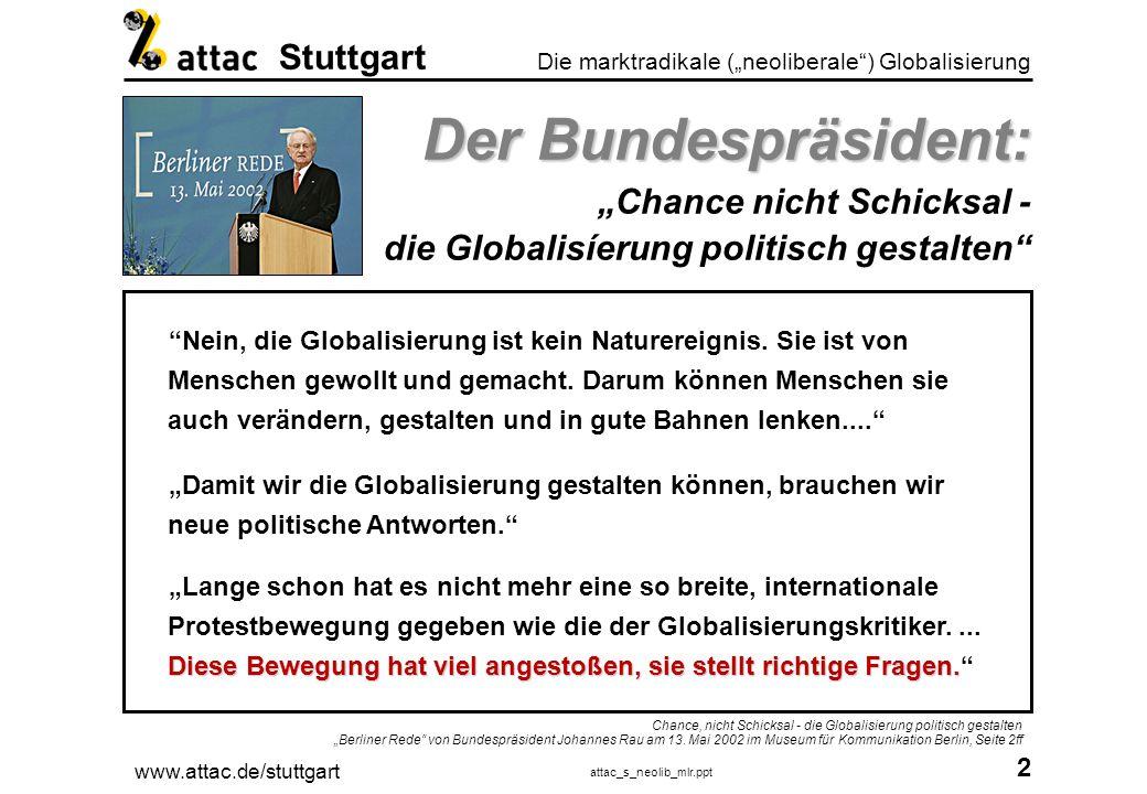 www.attac.de/stuttgart attac_s_neolib_mlr.ppt 3 Die marktradikale (neoliberale) Globalisierung Stuttgart Joseph Stiglitz Joseph Stiglitz Die Schatten der Globalisierung Quelle: Stiglitz, Joseph: Die Schatten der Globalisierung, Bonn 2002, ISBN 3-89331-466-0, S.