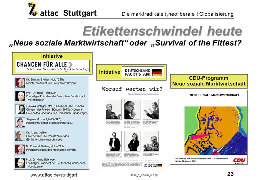 www.attac.de/stuttgart attac_s_neolib_mlr.ppt 24 Die marktradikale (neoliberale) Globalisierung Stuttgart Das System der Umverteilung Das System der Umverteilung Privatisierung der Gewinne - Sozialisierung der Verluste