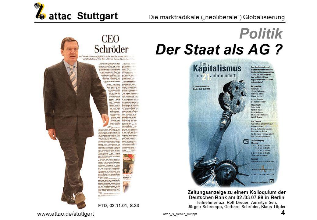 www.attac.de/stuttgart attac_s_neolib_mlr.ppt 5 Die marktradikale (neoliberale) Globalisierung Stuttgart Die politische Lobby Wer regiert die Republik.