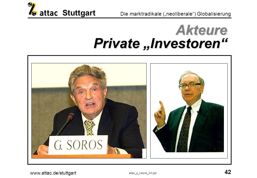 www.attac.de/stuttgart attac_s_neolib_mlr.ppt 43 Die marktradikale (neoliberale) Globalisierung Stuttgart Akteure Private Investoren Financial Times Deutschland vom 30.01.01