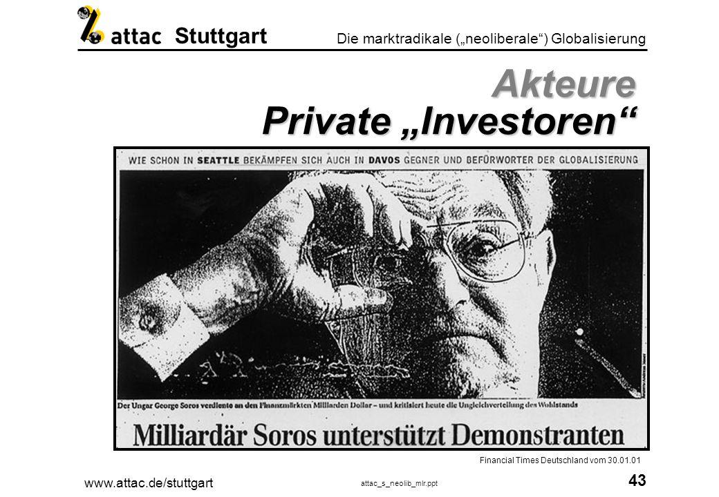 www.attac.de/stuttgart attac_s_neolib_mlr.ppt 44 Die marktradikale (neoliberale) Globalisierung Stuttgart IFSL - Int.