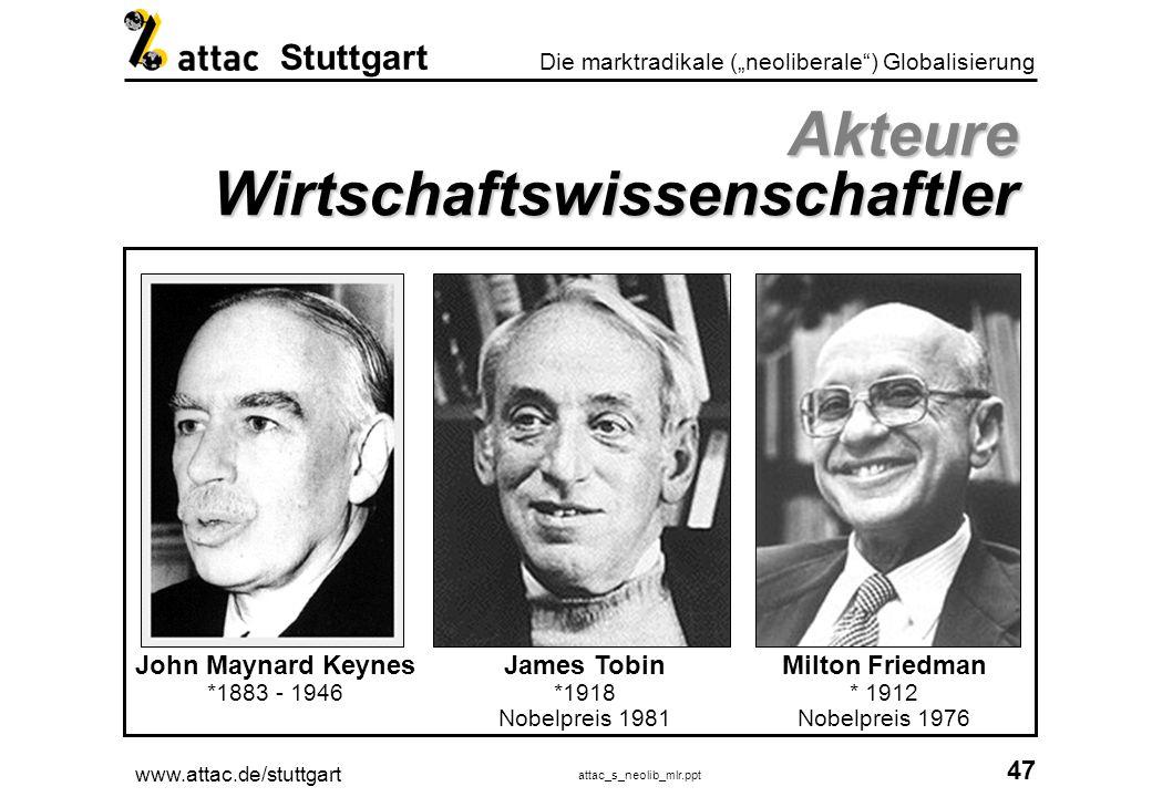 www.attac.de/stuttgart attac_s_neolib_mlr.ppt 48 Die marktradikale (neoliberale) Globalisierung Stuttgart Akteure Rating Agenturen Tabelle mit Beispielratings