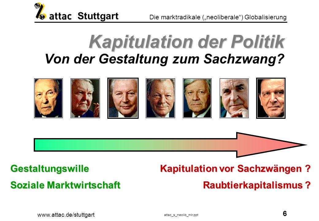 www.attac.de/stuttgart attac_s_neolib_mlr.ppt 7 Die marktradikale (neoliberale) Globalisierung Stuttgart Noam Chomsky Noam Chomsky Wirtschaft und Gewalt Totalitäre Macht im 20./21.