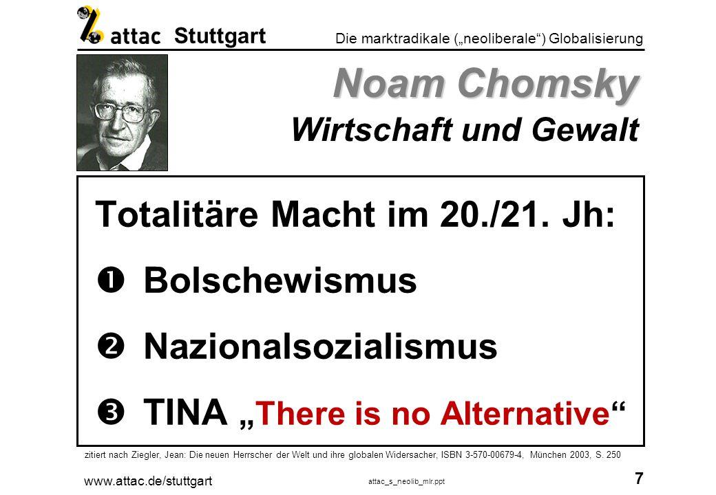 www.attac.de/stuttgart attac_s_neolib_mlr.ppt 8 Die marktradikale (neoliberale) Globalisierung Stuttgart (Neo-)Liberalismus Die geistigen Väter Friedrich August von Hayek * 1899 - 1992 Adam Smith *1723 - 1790 David Ricardo *1772 - 1823