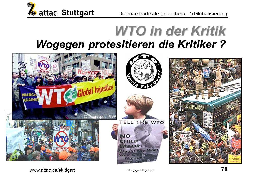 www.attac.de/stuttgart attac_s_neolib_mlr.ppt 79 Die marktradikale (neoliberale) Globalisierung Stuttgart WTO in der Kritik WTO in der Kritik Menschenrechte und Demokratie ?