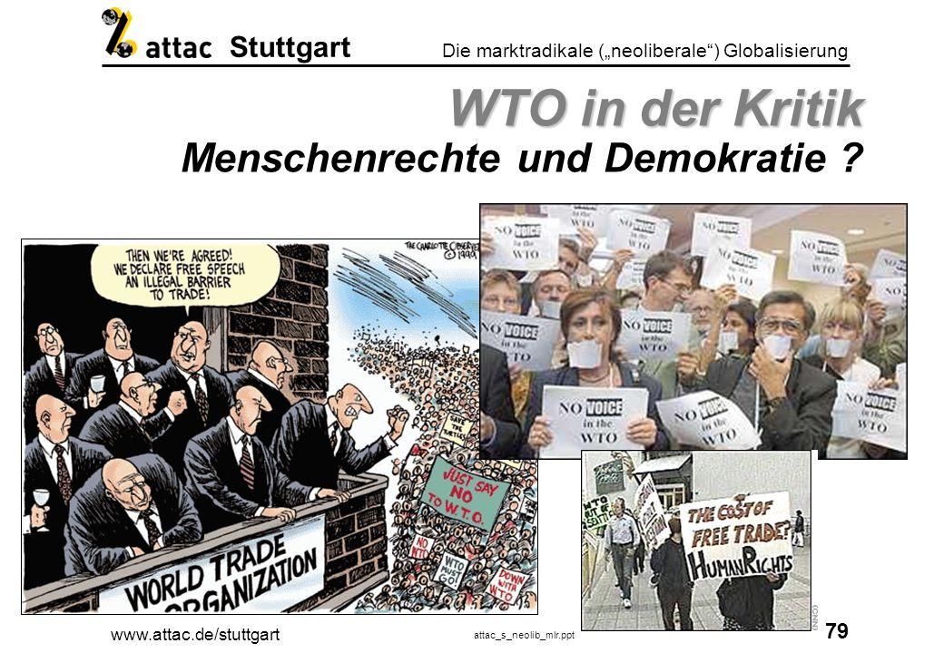 www.attac.de/stuttgart attac_s_neolib_mlr.ppt 80 Die marktradikale (neoliberale) Globalisierung Stuttgart WTO in der Kritik WTO in der Kritik Demokratie und ethische Leitbilder ?