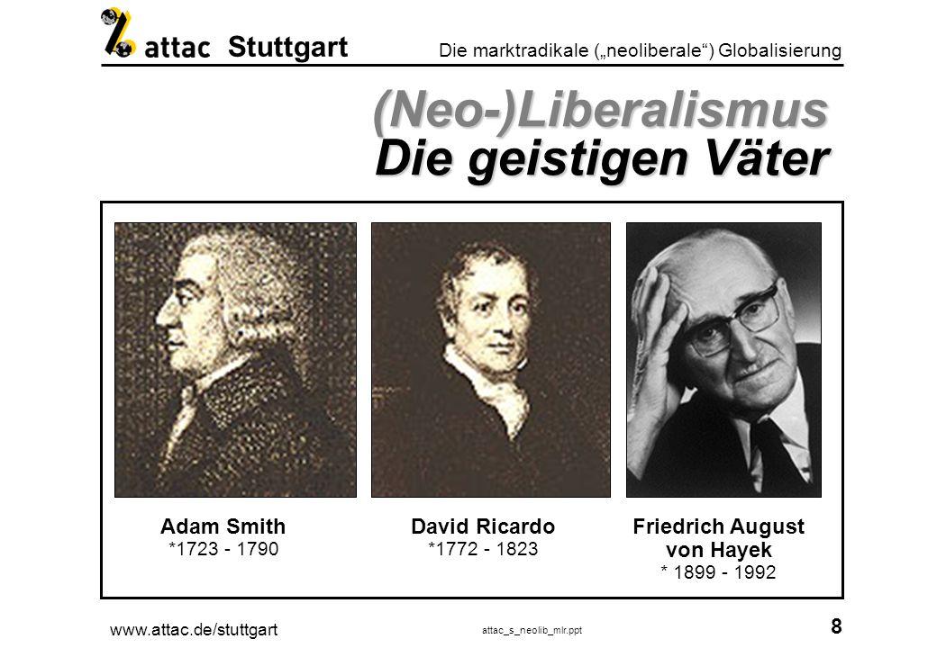www.attac.de/stuttgart attac_s_neolib_mlr.ppt 9 Die marktradikale (neoliberale) Globalisierung Stuttgart Neoliberalismus Übersicht volkswirt.