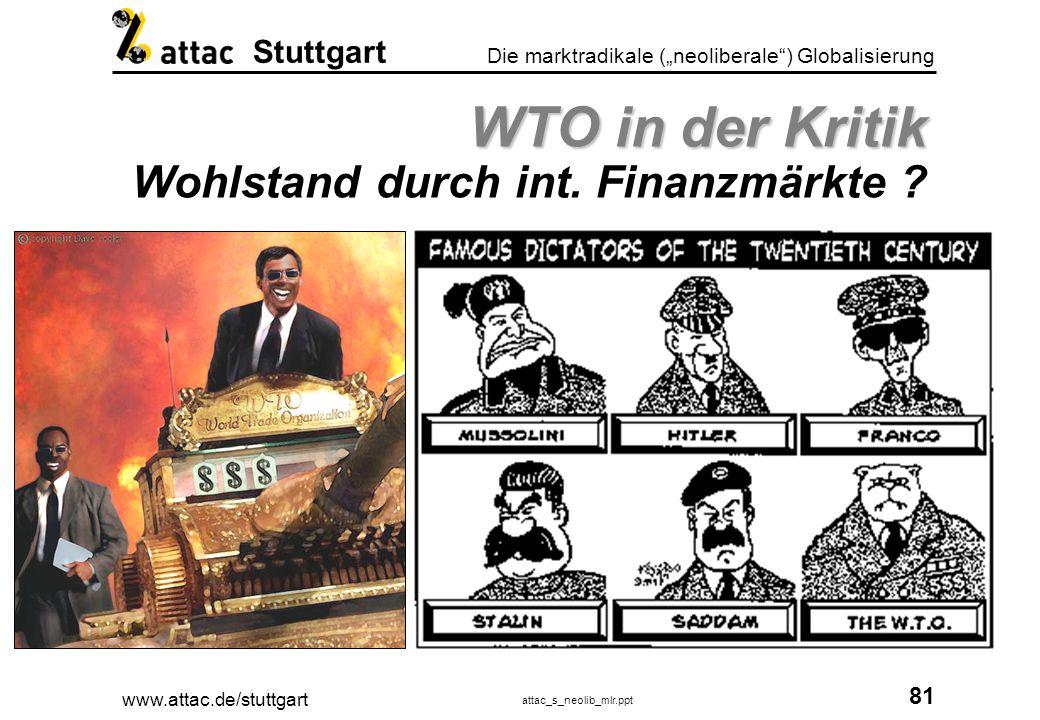 www.attac.de/stuttgart attac_s_neolib_mlr.ppt 82 Die marktradikale (neoliberale) Globalisierung Stuttgart WTO in der Kritik WTO in der Kritik Wohlstand durch Freihandel ?