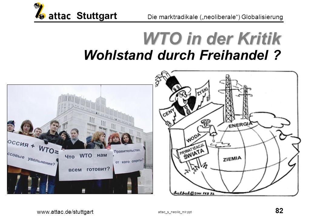 www.attac.de/stuttgart attac_s_neolib_mlr.ppt 83 Die marktradikale (neoliberale) Globalisierung Stuttgart WTO in der Kritik WTO in der Kritik Nachhaltige Entwicklung ?