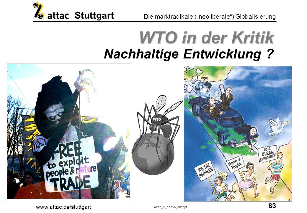www.attac.de/stuttgart attac_s_neolib_mlr.ppt 84 Die marktradikale (neoliberale) Globalisierung Stuttgart WTO in der Kritik WTO in der Kritik Chancengleichheit und Marktentwicklung ?