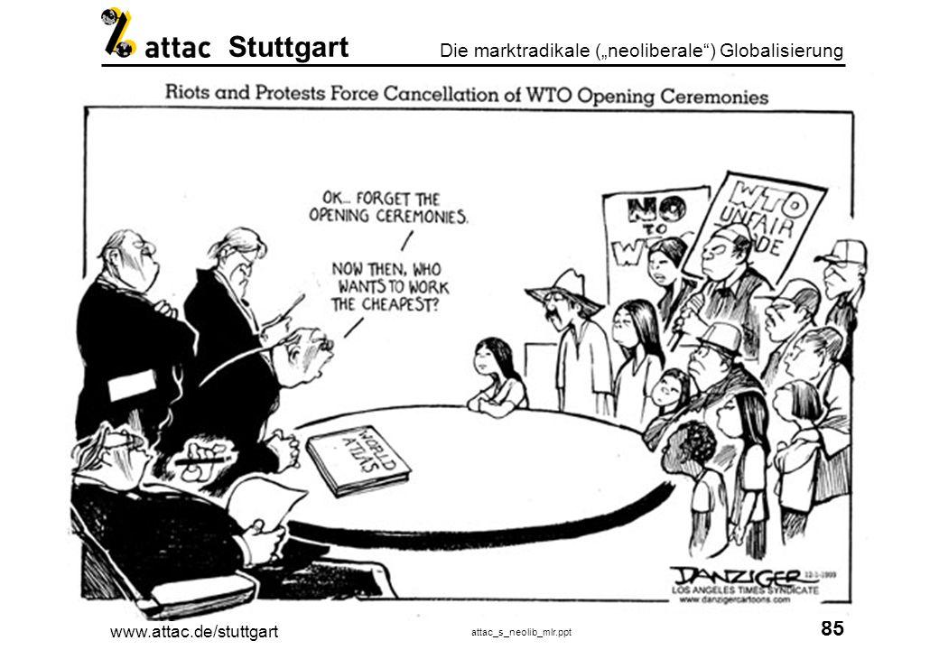 www.attac.de/stuttgart attac_s_neolib_mlr.ppt 86 Die marktradikale (neoliberale) Globalisierung Stuttgart WTO WTO Die multilateralen Abkommen Konsens von Washington: GATT GATS TRIPS General Agreement on Tariffs and Trade General Agreement on Trade in Services Trade-related Aspects of Intellectual Property Rights