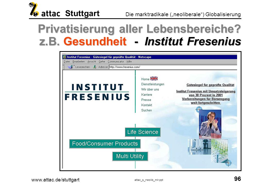 www.attac.de/stuttgart attac_s_neolib_mlr.ppt 97 Die marktradikale (neoliberale) Globalisierung Stuttgart Privatisierung aller Lebensbereiche.