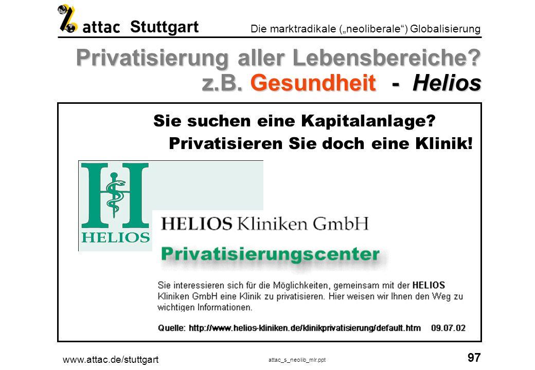 www.attac.de/stuttgart attac_s_neolib_mlr.ppt 98 Die marktradikale (neoliberale) Globalisierung Stuttgart Privatisierung aller Lebensbereiche.