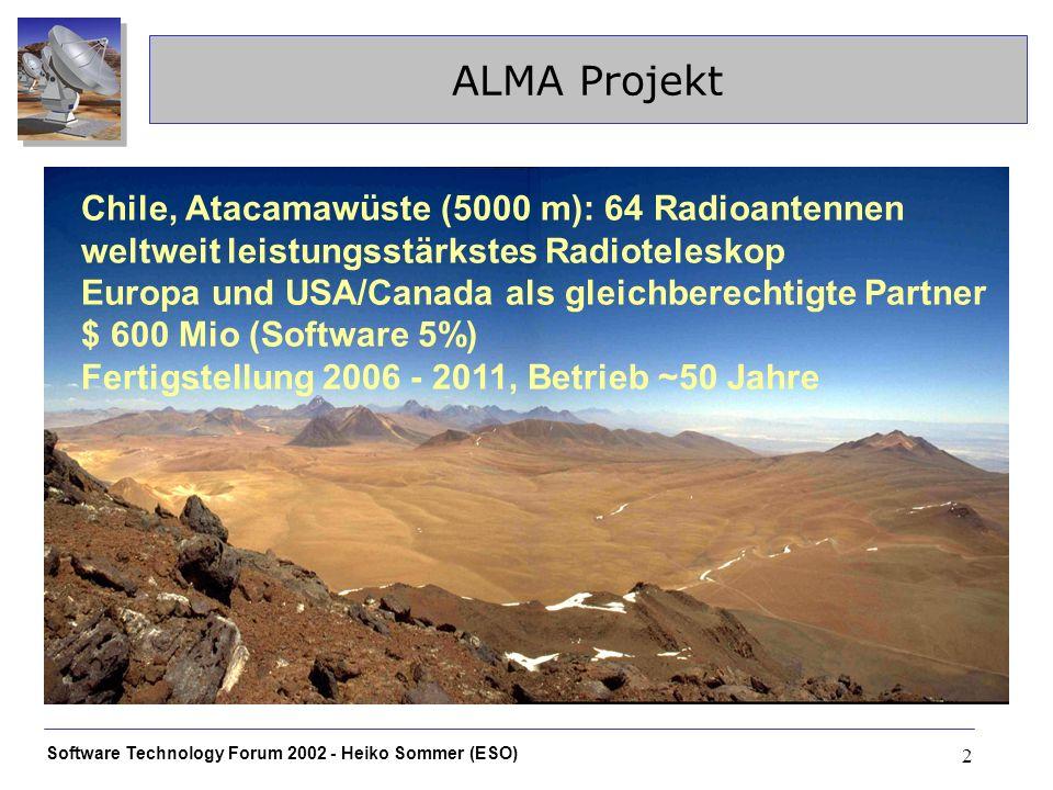 Software Technology Forum 2002 - Heiko Sommer (ESO) 2 ALMA Projekt Chile, Atacamawüste (5000 m): 64 Radioantennen weltweit leistungsstärkstes Radiotel