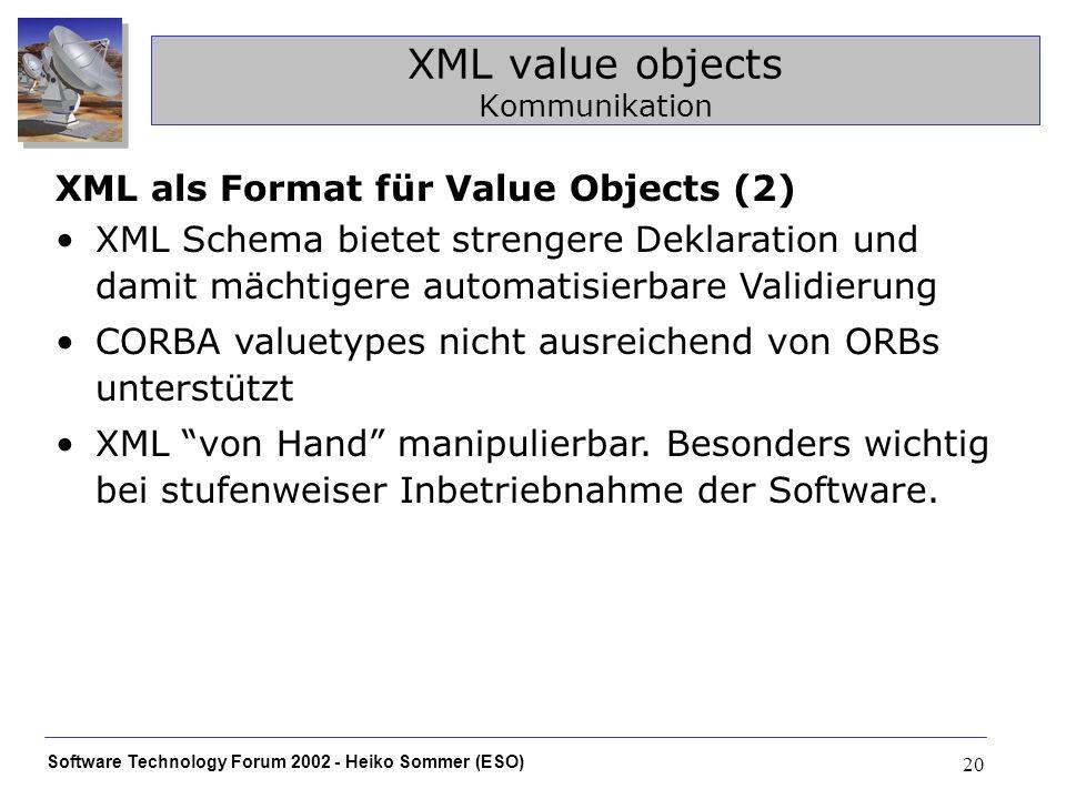 Software Technology Forum 2002 - Heiko Sommer (ESO) 20 XML value objects Kommunikation XML als Format für Value Objects (2) XML Schema bietet strenger