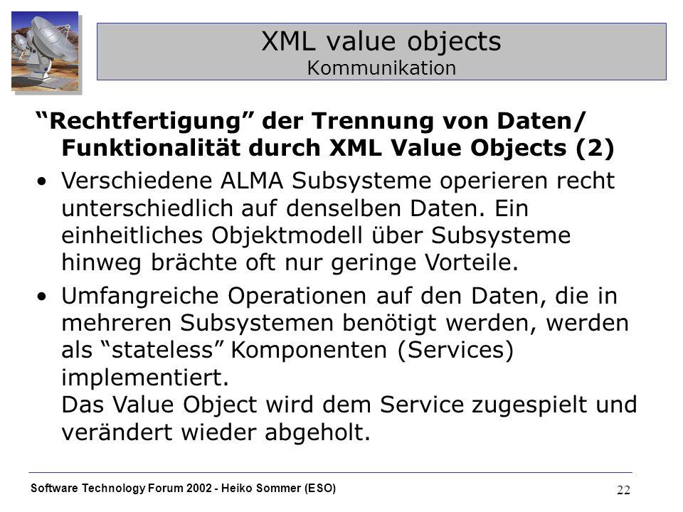 Software Technology Forum 2002 - Heiko Sommer (ESO) 22 XML value objects Kommunikation Rechtfertigung der Trennung von Daten/ Funktionalität durch XML