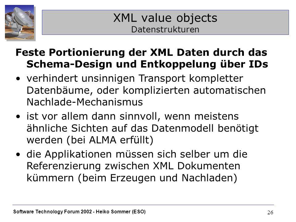 Software Technology Forum 2002 - Heiko Sommer (ESO) 26 XML value objects Datenstrukturen Feste Portionierung der XML Daten durch das Schema-Design und