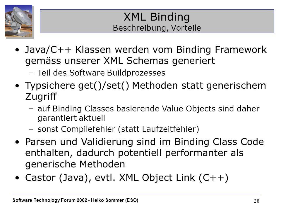 Software Technology Forum 2002 - Heiko Sommer (ESO) 28 XML Binding Beschreibung, Vorteile Java/C++ Klassen werden vom Binding Framework gemäss unserer