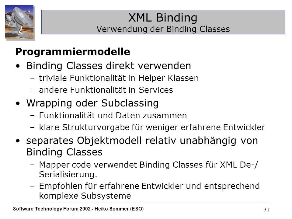 Software Technology Forum 2002 - Heiko Sommer (ESO) 31 XML Binding Verwendung der Binding Classes Programmiermodelle Binding Classes direkt verwenden