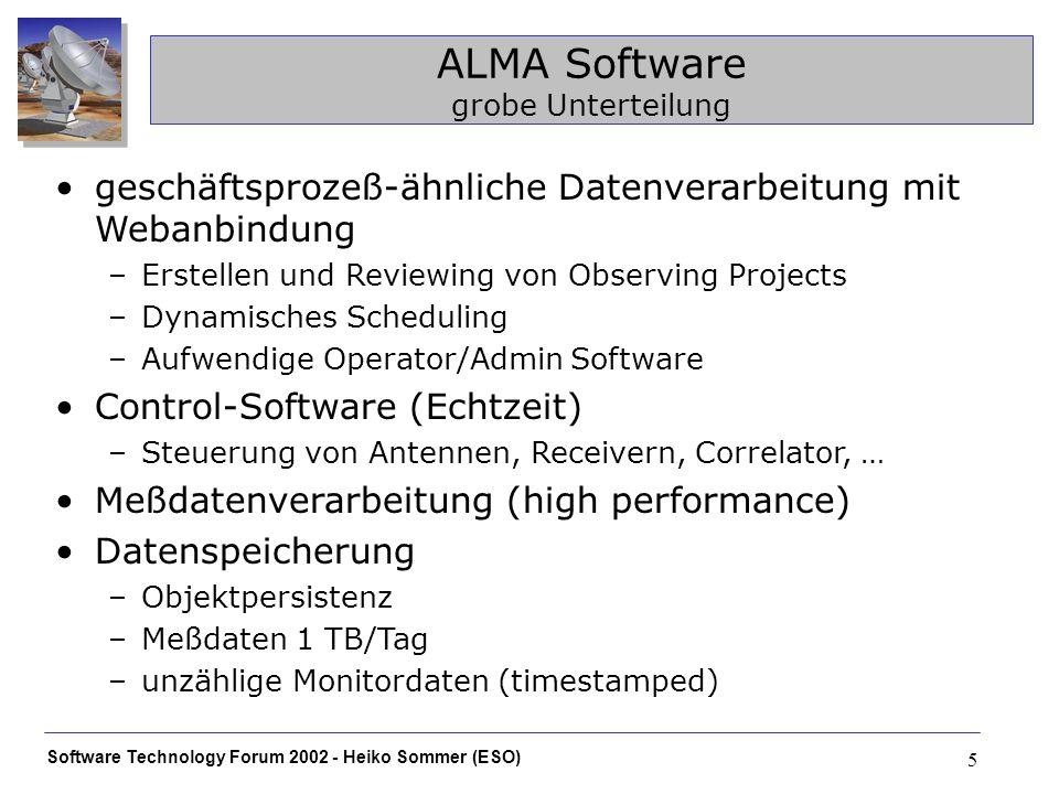 Software Technology Forum 2002 - Heiko Sommer (ESO) 5 ALMA Software grobe Unterteilung geschäftsprozeß-ähnliche Datenverarbeitung mit Webanbindung –Er