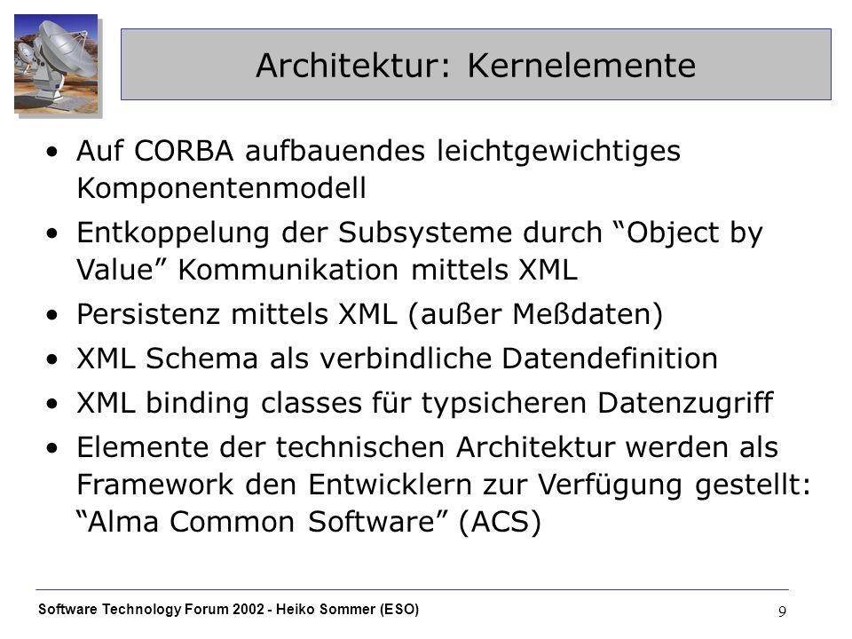 Software Technology Forum 2002 - Heiko Sommer (ESO) 9 Architektur: Kernelemente Auf CORBA aufbauendes leichtgewichtiges Komponentenmodell Entkoppelung