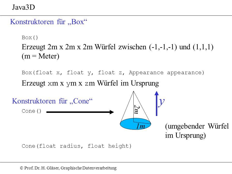 © Prof. Dr. H. Gläser, Graphische Datenverarbeitung Java3D Konstruktoren für Box Box(float x, float y, float z, Appearance appearance) Box() Erzeugt 2