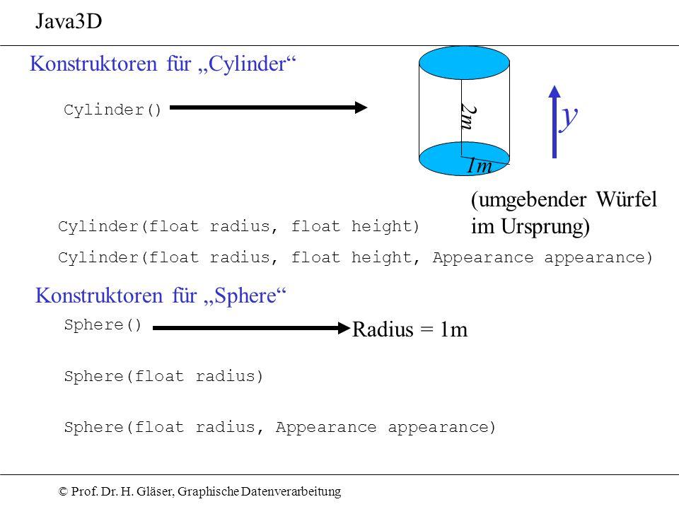 © Prof. Dr. H. Gläser, Graphische Datenverarbeitung Java3D Konstruktoren für Cylinder Cylinder(float radius, float height, Appearance appearance) Cyli