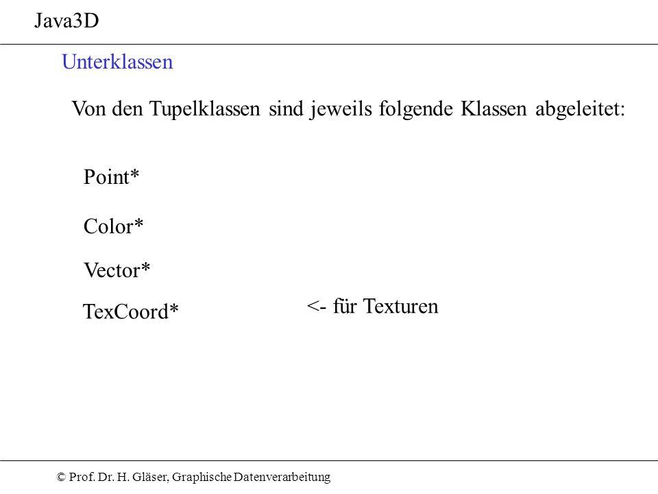 © Prof. Dr. H. Gläser, Graphische Datenverarbeitung Java3D Unterklassen Von den Tupelklassen sind jeweils folgende Klassen abgeleitet: Point* Vector*