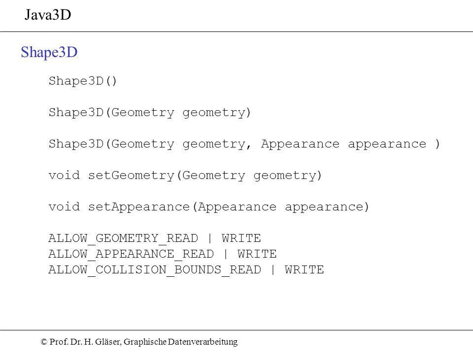 © Prof. Dr. H. Gläser, Graphische Datenverarbeitung Java3D Shape3D Shape3D() Shape3D(Geometry geometry) Shape3D(Geometry geometry, Appearance appearan