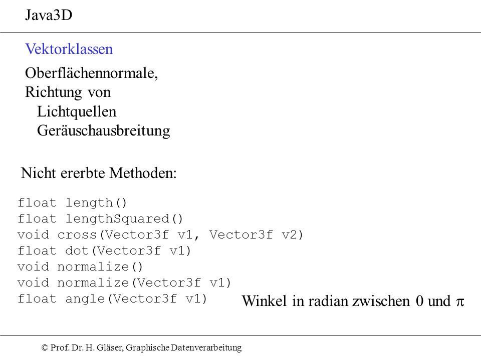 © Prof. Dr. H. Gläser, Graphische Datenverarbeitung Java3D Vektorklassen Oberflächennormale, Richtung von Lichtquellen Geräuschausbreitung float lengt