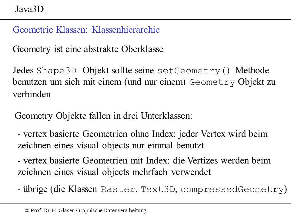 © Prof. Dr. H. Gläser, Graphische Datenverarbeitung Java3D Geometrie Klassen: Klassenhierarchie Jedes Shape3D Objekt sollte seine setGeometry() Method