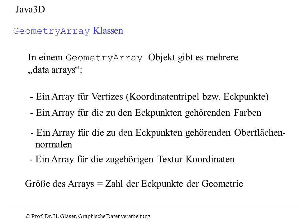 © Prof. Dr. H. Gläser, Graphische Datenverarbeitung Java3D GeometryArray Klassen In einem GeometryArray Objekt gibt es mehrere data arrays: - Ein Arra