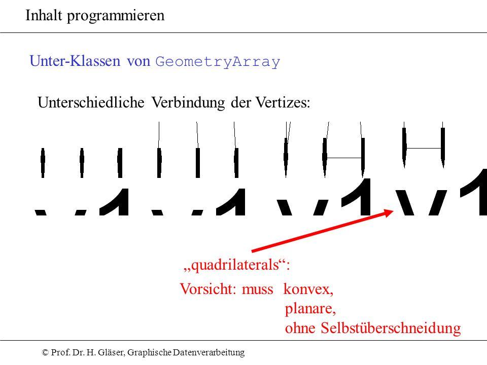 © Prof. Dr. H. Gläser, Graphische Datenverarbeitung Inhalt programmieren Unter-Klassen von GeometryArray Unterschiedliche Verbindung der Vertizes: qua