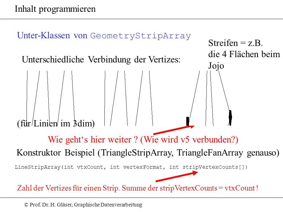 © Prof. Dr. H. Gläser, Graphische Datenverarbeitung Inhalt programmieren Unter-Klassen von GeometryStripArray Unterschiedliche Verbindung der Vertizes