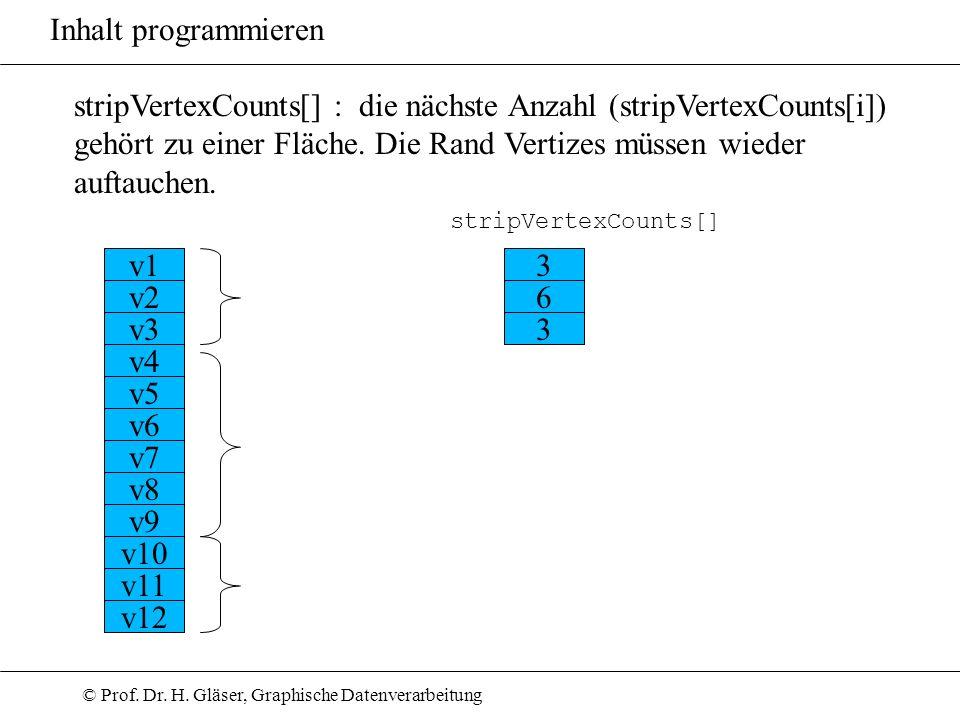 © Prof. Dr. H. Gläser, Graphische Datenverarbeitung Inhalt programmieren stripVertexCounts[] : die nächste Anzahl (stripVertexCounts[i]) gehört zu ein