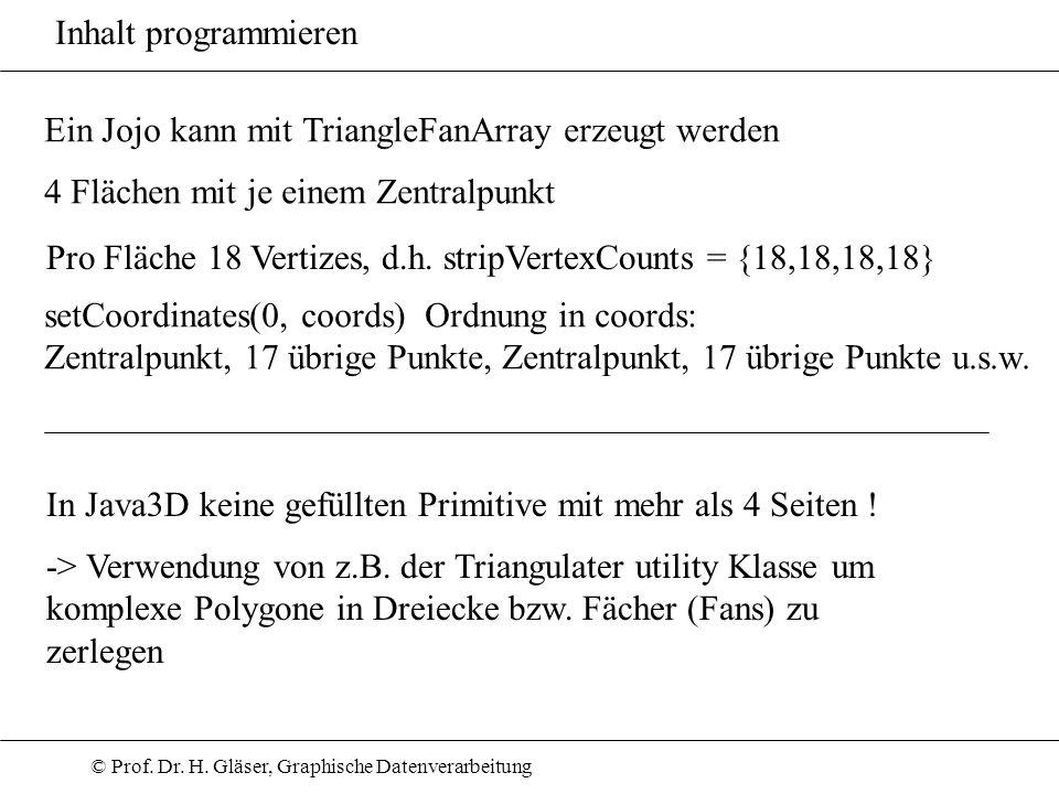 © Prof. Dr. H. Gläser, Graphische Datenverarbeitung Inhalt programmieren In Java3D keine gefüllten Primitive mit mehr als 4 Seiten ! -> Verwendung von