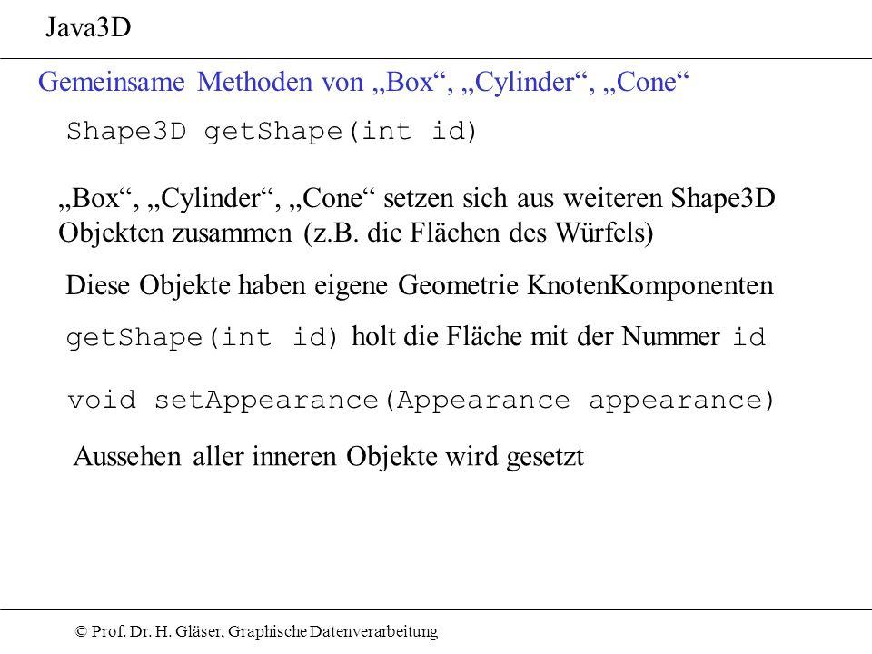 © Prof. Dr. H. Gläser, Graphische Datenverarbeitung Java3D Gemeinsame Methoden von Box, Cylinder, Cone Shape3D getShape(int id) Box, Cylinder, Cone se
