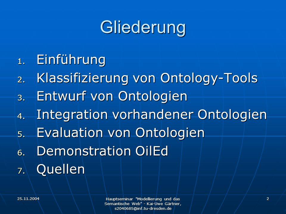 25.11.2004 Hauptseminar Modellierung und das Semantische Web - Kai-Uwe Gärtner, s2040685@inf.tu-dresden.de 3 1.