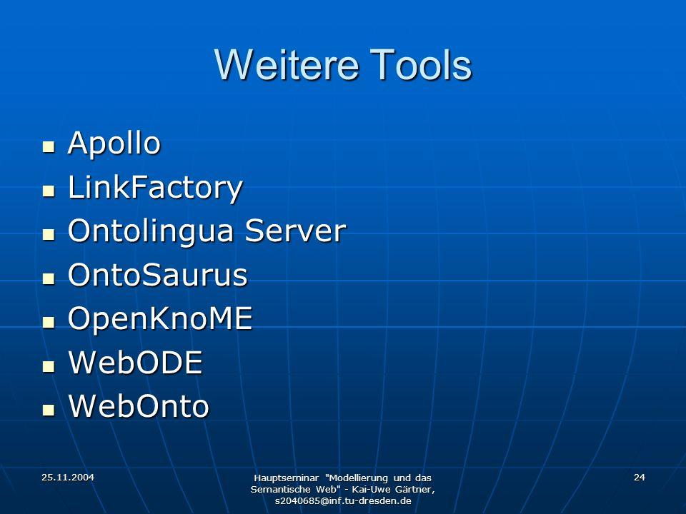 25.11.2004 Hauptseminar Modellierung und das Semantische Web - Kai-Uwe Gärtner, s2040685@inf.tu-dresden.de 24 Weitere Tools Apollo Apollo LinkFactory LinkFactory Ontolingua Server Ontolingua Server OntoSaurus OntoSaurus OpenKnoME OpenKnoME WebODE WebODE WebOnto WebOnto