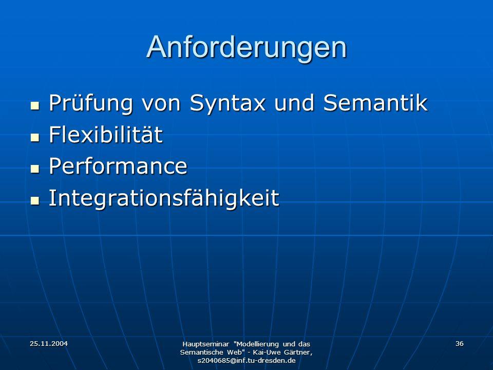 25.11.2004 Hauptseminar Modellierung und das Semantische Web - Kai-Uwe Gärtner, s2040685@inf.tu-dresden.de 36 Anforderungen Prüfung von Syntax und Semantik Prüfung von Syntax und Semantik Flexibilität Flexibilität Performance Performance Integrationsfähigkeit Integrationsfähigkeit