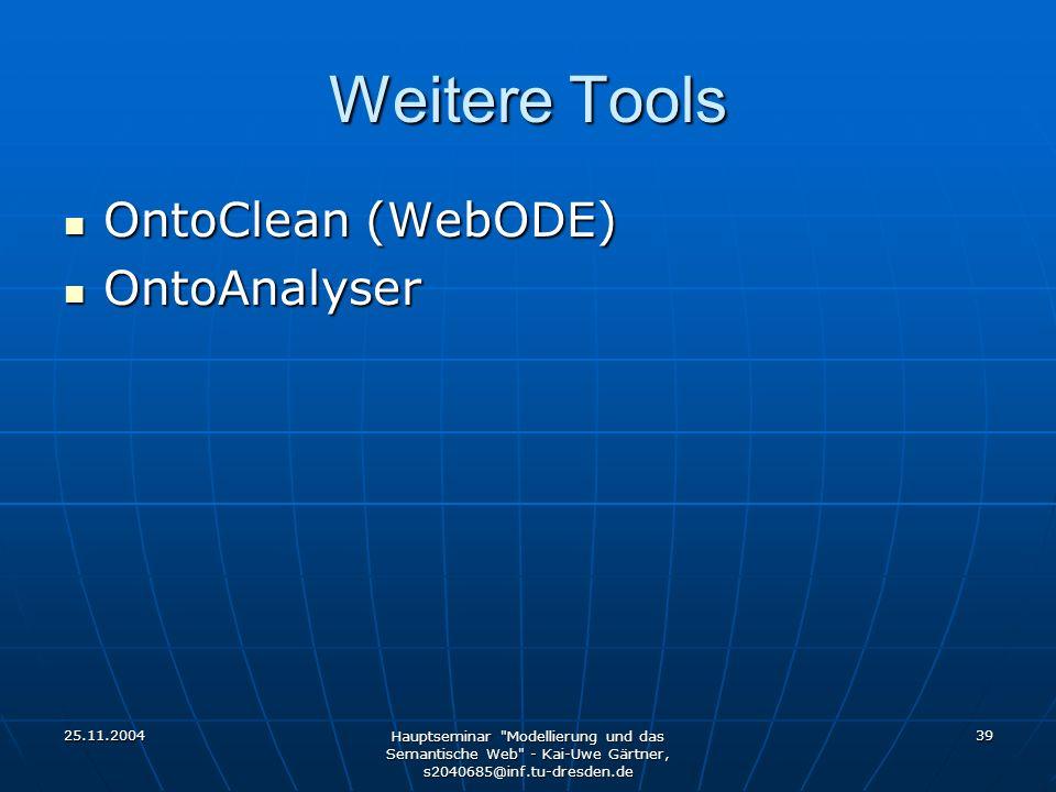 25.11.2004 Hauptseminar Modellierung und das Semantische Web - Kai-Uwe Gärtner, s2040685@inf.tu-dresden.de 39 Weitere Tools OntoClean (WebODE) OntoClean (WebODE) OntoAnalyser OntoAnalyser