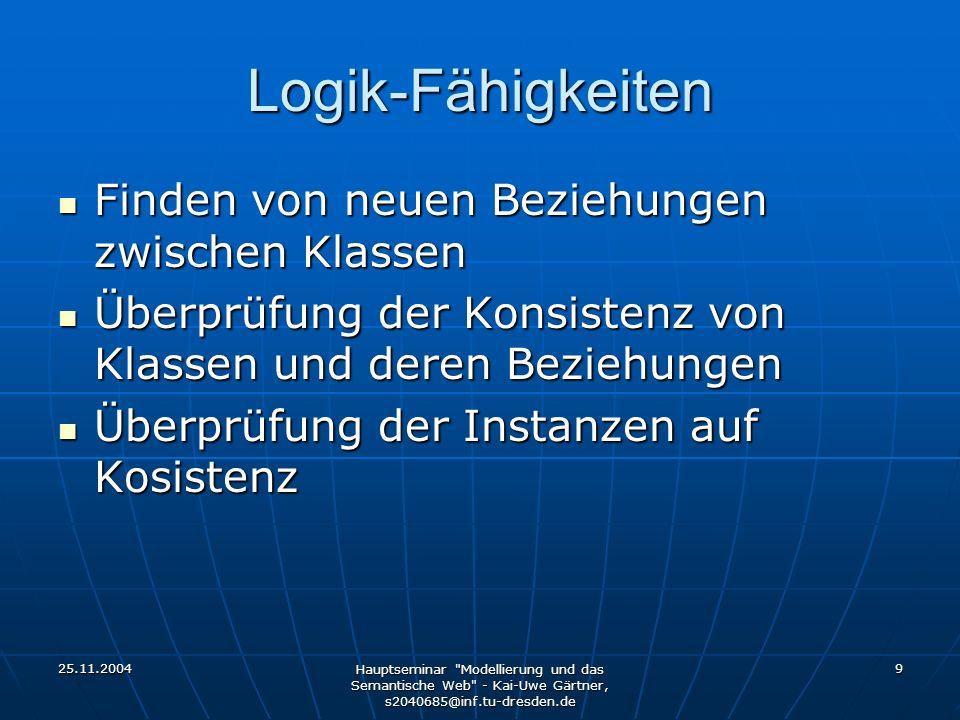 25.11.2004 Hauptseminar Modellierung und das Semantische Web - Kai-Uwe Gärtner, s2040685@inf.tu-dresden.de 20 OilEd Aktuelle Version: 3.5.7 Aktuelle Version: 3.5.7 Platform: Java / Standalone Platform: Java / Standalone Hersteller: University of Manchaster Hersteller: University of Manchaster Nutzt DAML+OIL, aber auch OWL Nutzt DAML+OIL, aber auch OWL Basiert auf Description Logic Basiert auf Description Logic Reasoning: FaCT system Reasoning: FaCT system Beliebige logische Verknüpfungen von Klassen möglich Beliebige logische Verknüpfungen von Klassen möglich