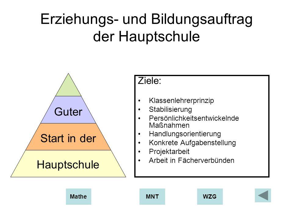 Erziehungs- und Bildungsauftrag der Hauptschule Ziele: Klassenlehrerprinzip Stabilisierung Persönlichkeitsentwickelnde Maßnahmen Handlungsorientierung