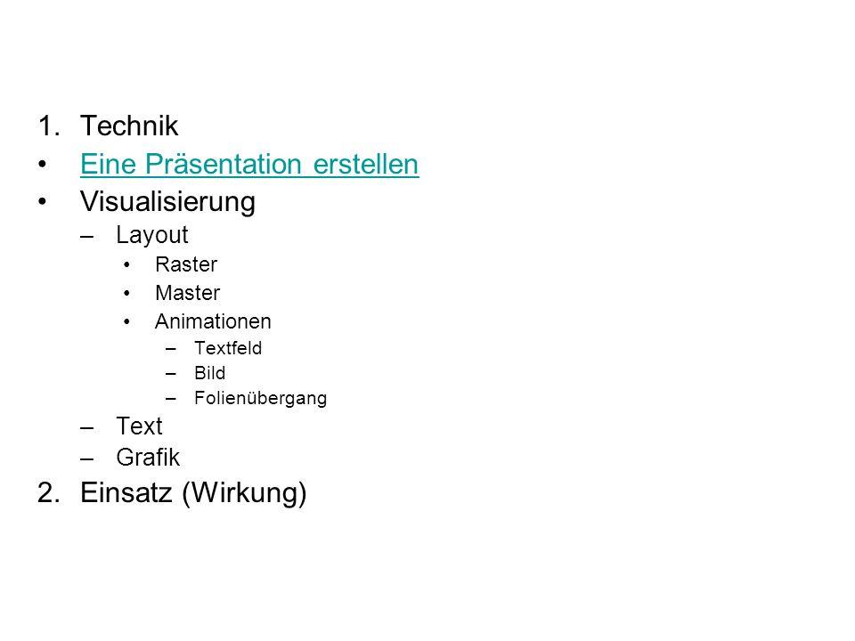 Gliederung 1.Technik Eine Präsentation erstellen Visualisierung –Layout Raster Master Animationen –Textfeld –Bild –Folienübergang –Text –Grafik 2.Eins